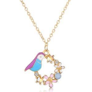 Multicolor Bird Flower Ornament Pendant Necklace